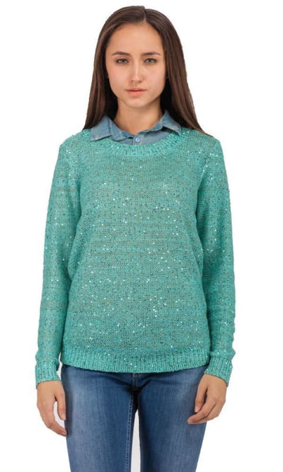 Shiny Pullover - Turquoise - women pullover