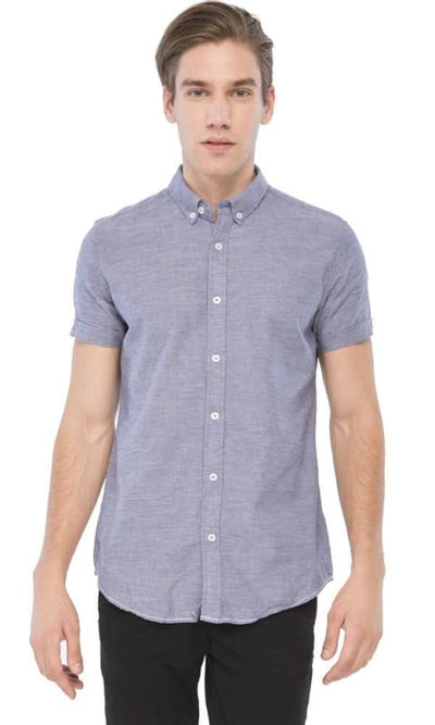 Short Sleeves Shirt - Heather Dark Blue - male shirts