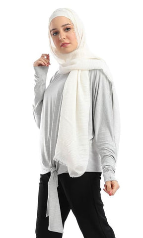 Side Bow Tie Long Sleeves Crew Neck Top - Heather Grey - hijab style