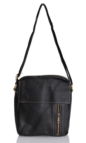 Side Zipper Cross Body Bag - Black - male bags