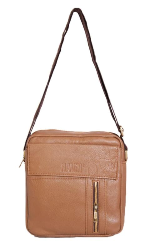 Side Zipper Cross Body Bag - Camel - male bags