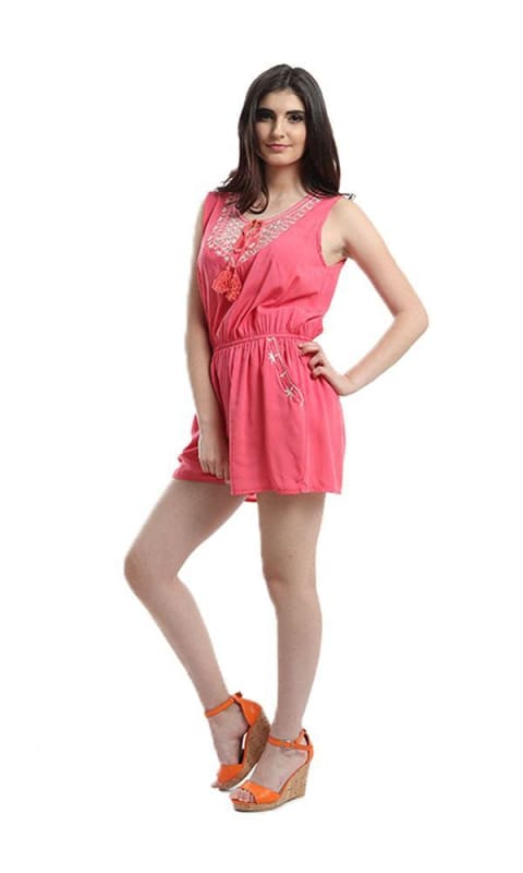 Sleeveless Elastic Waist Slip On Playsuit - Pink - women jumpsuits