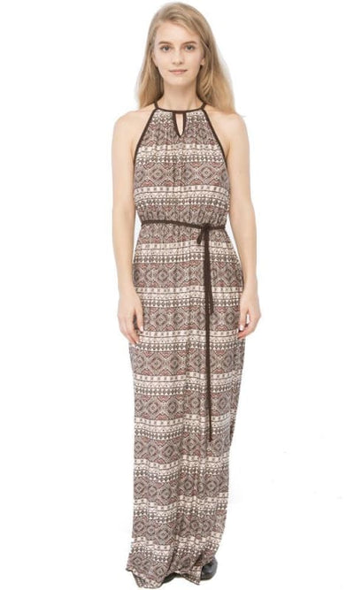 Sleeveless Maxi Patterned Dress - Multicolour - women dresses