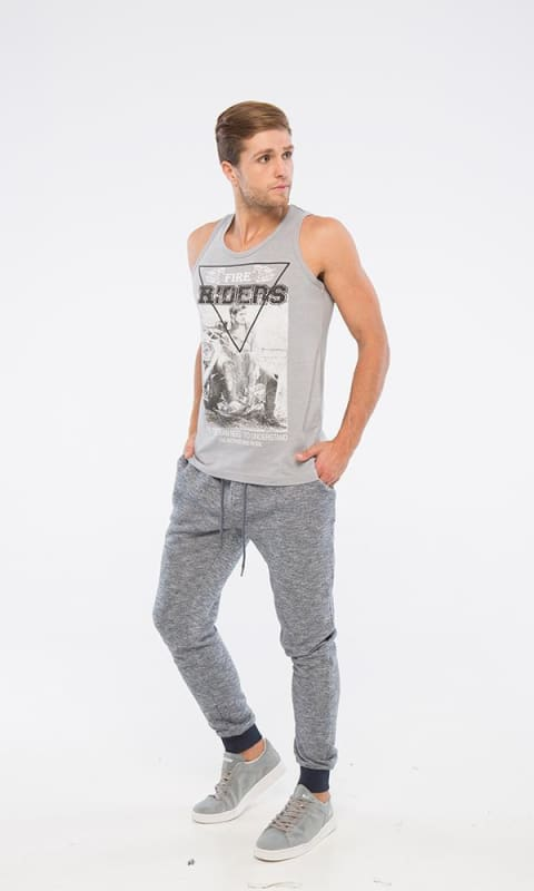 Sleeveless Printed T-Shirt - Light Grey - male tops
