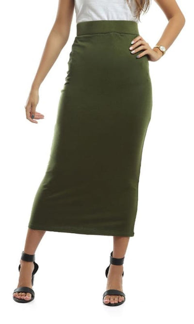 Slim Fit Skirt - Olive - women skirts