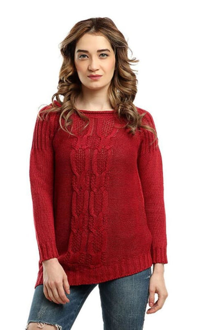 Solid Acrylic Winter Pullover - Red - women pullover