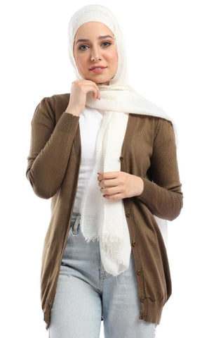 Solid Buttoned Long Sleeves Casual Cardigan - Golden Brown - hijab style