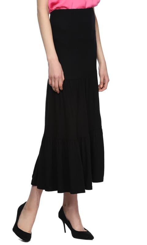 Solid Maxi Skirt - Black - women skirts