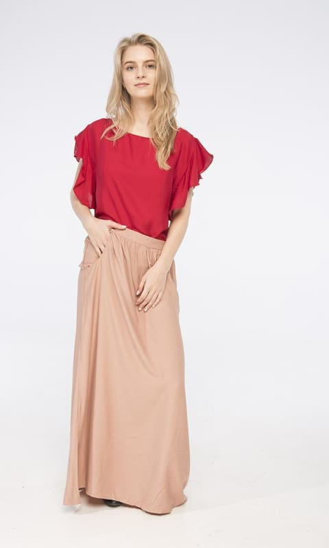 Solid Maxi Skirt - Dark Beige - women skirts