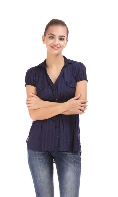 Solid Shirt - Navy Blue - women shirts & blouses