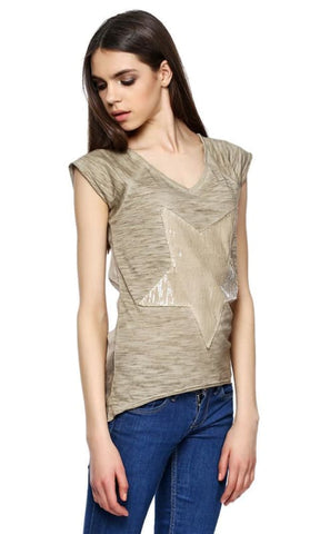 Star Sequin Top - H.Beige - women t-shirts