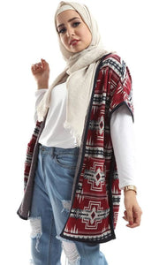 Statement Patterned Sleevless Maroon & Navy Blue Cardigan - hijab style
