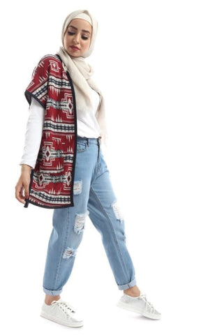 البيان Patterned Sleevless المارونس & زرق Cardigan - نمط الحجاب