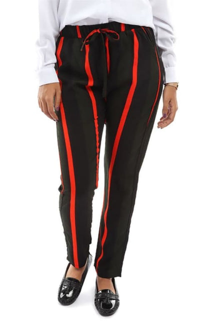 Straight Striped Pants - Black - hijab style