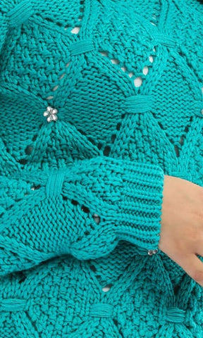 Strass Cute Pullover - Aquamarine - hijab style