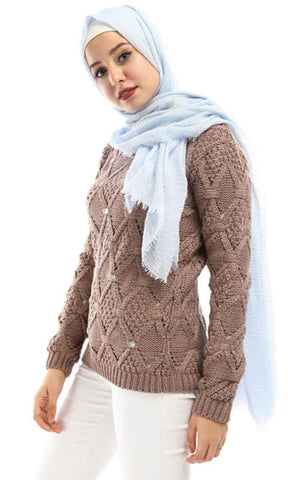 Strass Cute Pullover - Dusty Rose - hijab style