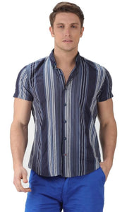 Stripe Short Sleeves Shirt-Navy Blue - male shirts