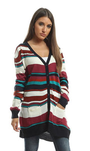 Striped Casual Cardigan - Multicolour - women vests & cardigans