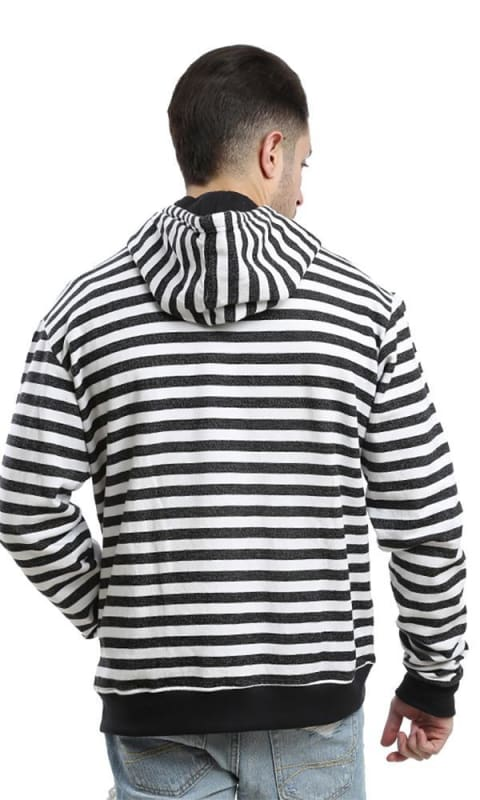 Striped Casual Sweatshirt - Grey & Black - male hoodies & sweatshirts