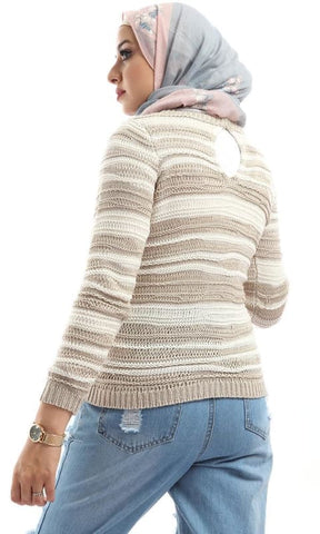 Striped Cropped Pullover With Back Slits - Beige & Off White - hijab style