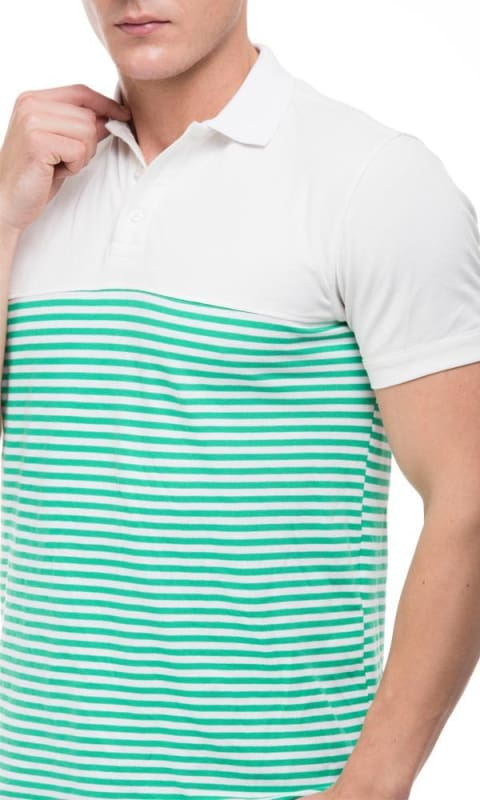 Striped Polo T-Shirt - Green - male polo shirts