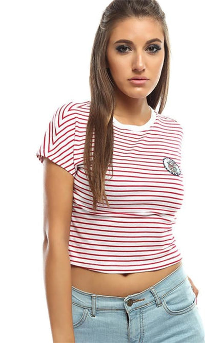 Striped Simple Crop Top -Red - women t-shirts