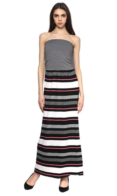 striped strapless maxi dress - women dresses