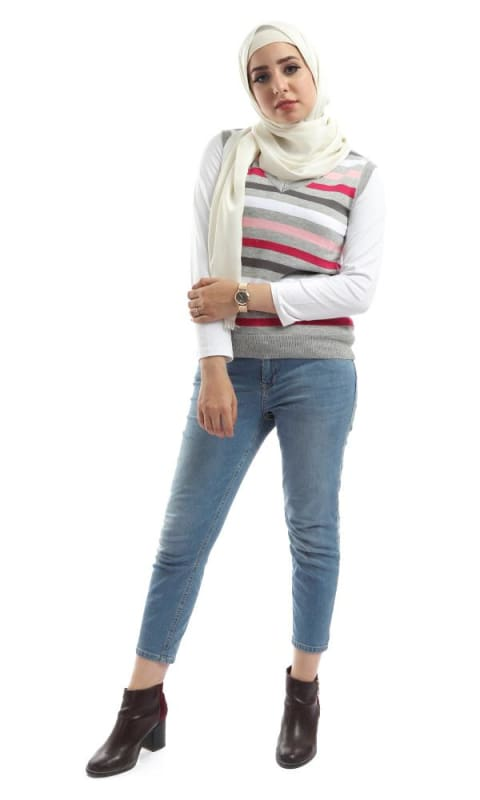 Striped Unique Sleeveless Pullover - Multicolour - hijab style