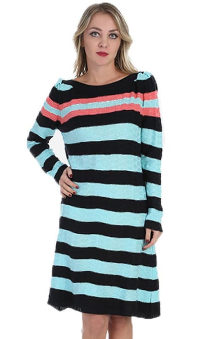 Striped Winter Dress - Turquoise - women dresses