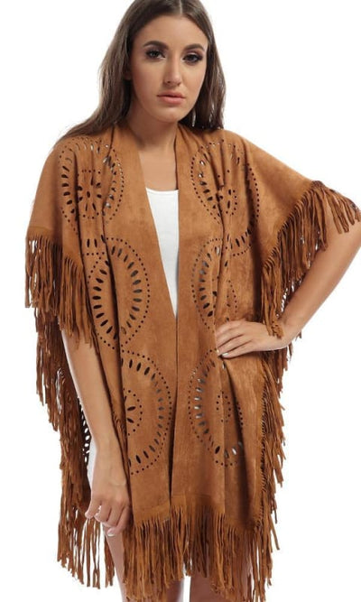 Suede Fringes Slip On Shawl - Casual Camel - women scarves & snoods