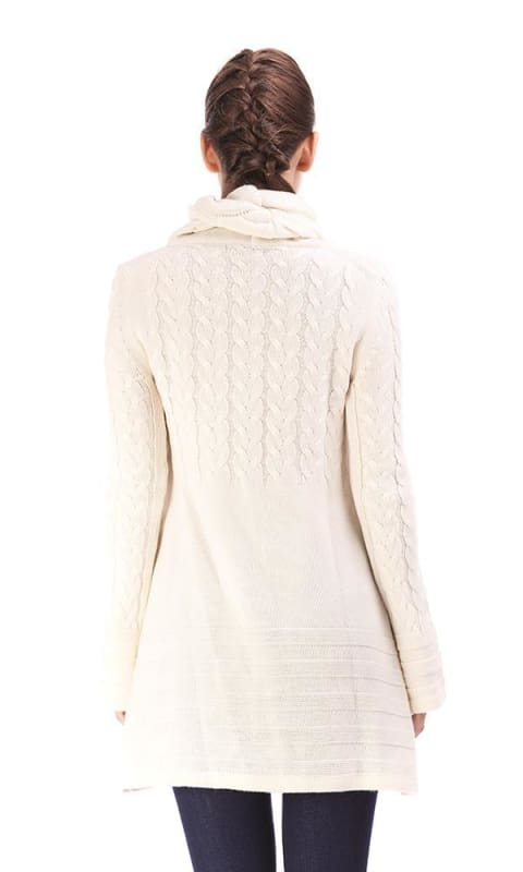 Turtleneck Sweater Dress - Off White - women pullover