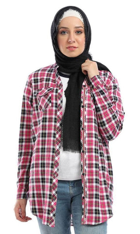 V-Neck Gingham Buttoned Pocket Dark Fuchsia Shirt - hijab style