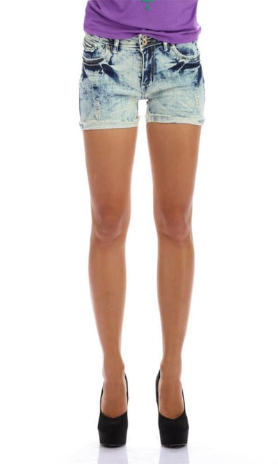 Washed Out Shorts - Iced Blue - women shorts