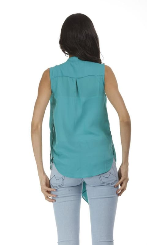Waterfall Solid Blouse - Blue Sky - women tops