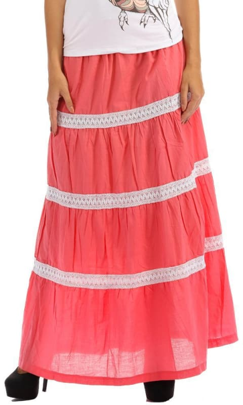 Wide Striped Skirt - Pink - women skirts