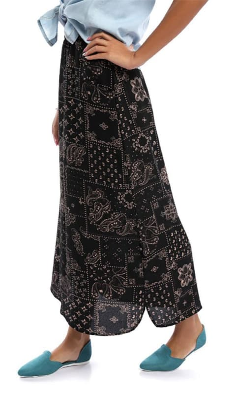 Wonderful Black Scroll Maxi Skirt - women skirts