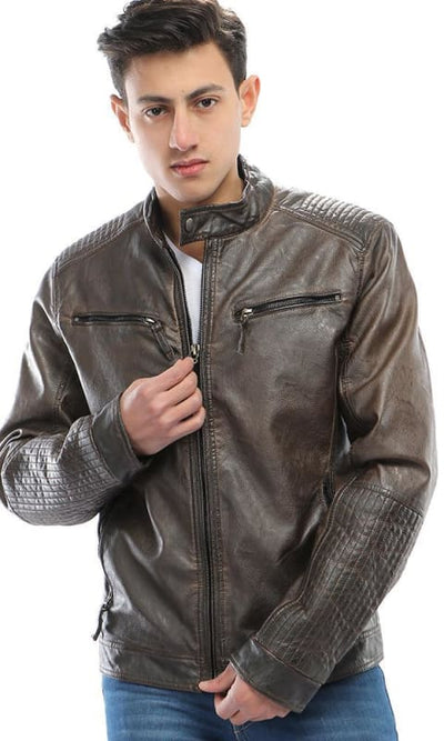 Zip Pocket Leather Jacket - Dark Brown - male coats & jackets