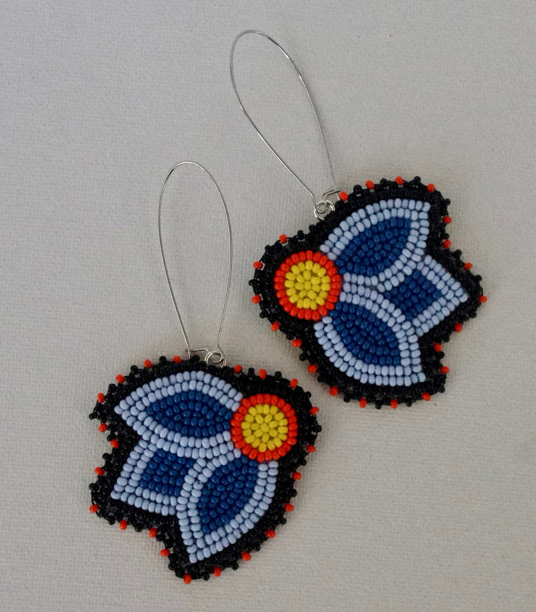 blue and orange floral earrings