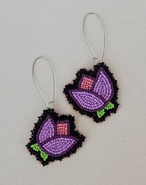 purple and pink floral earrings