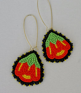 orange and yellow floral earrings
