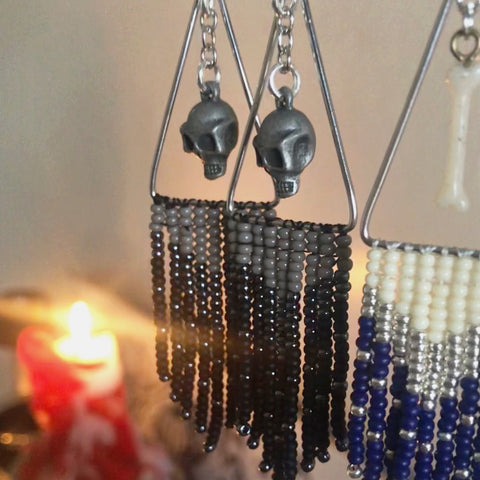 black and grey skull fringe earrings