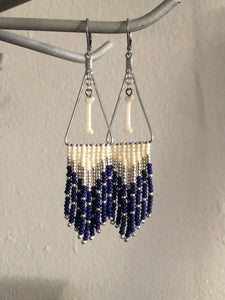 blue and beige bone fringe earrings