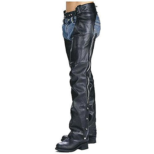 Xelement 7550 Classic Black Unisex Leather Motorcycle Chaps - 34