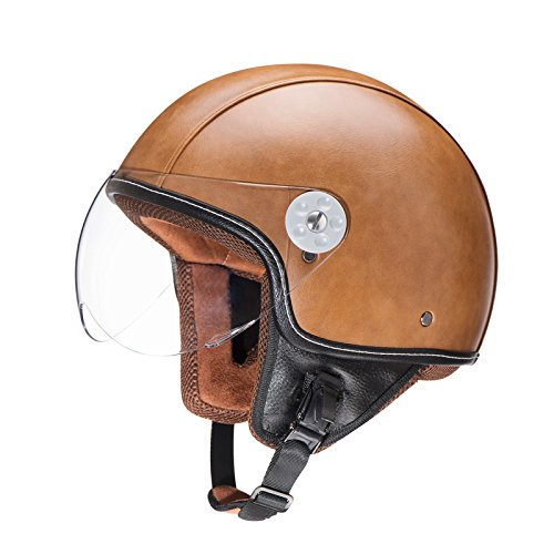 Woljay Leather Motorcycle Vintage Half Helmets Motorcycle Biker Cruiser Scooter Touring Helmet (L, Brown)