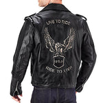Viking Cycle American Eagle Premium Grade Cowhide Leather Motorcycle Jacket for Men (Large)