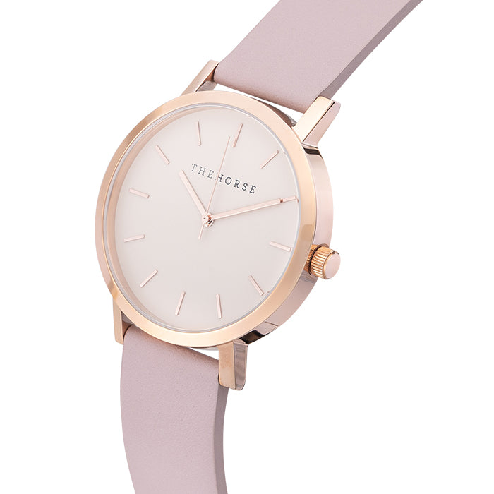 horse watch A14 - polished rose gold / blush leather strap