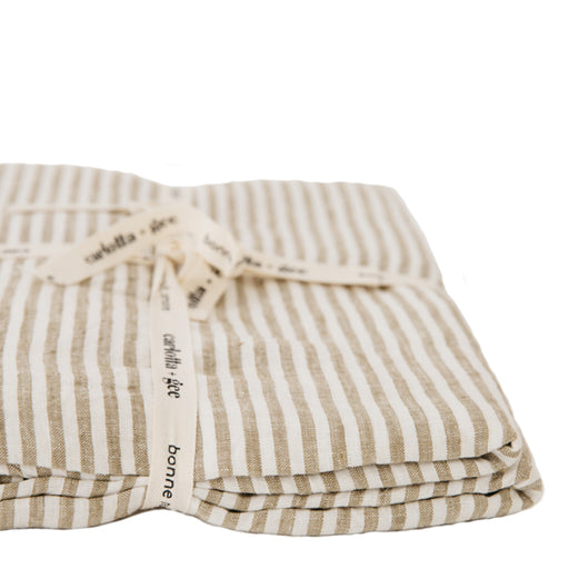 carlotta + gee - duvet cover - olive stripes