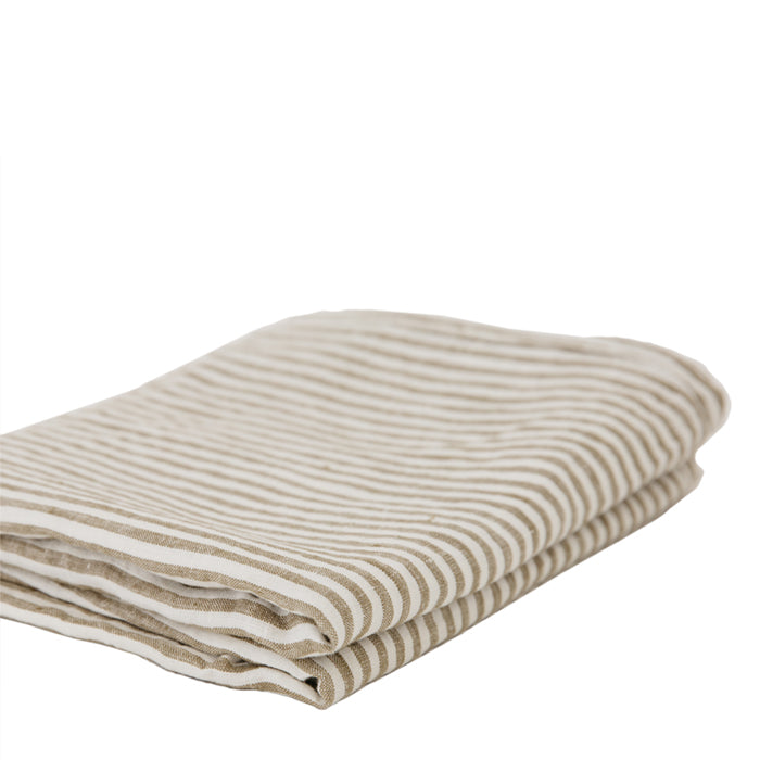 carlotta + gee - standard pillowslip set - olive stripes
