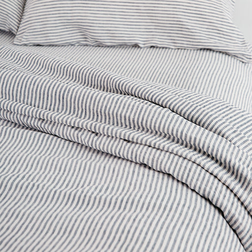 carlotta + gee - fitted sheet- blue stripes