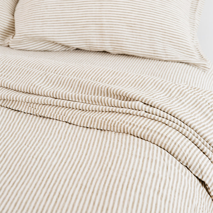 carlotta + gee - fitted sheet - olive stripes